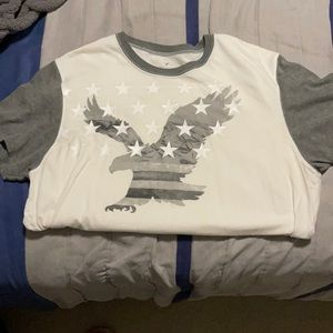 Grey and white t-shirt